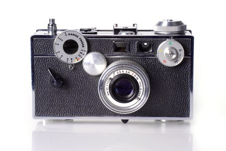 vintage photo: Front view of classic film rangefinder camera