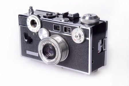 old photo: Side view of classic film rangefinder camera