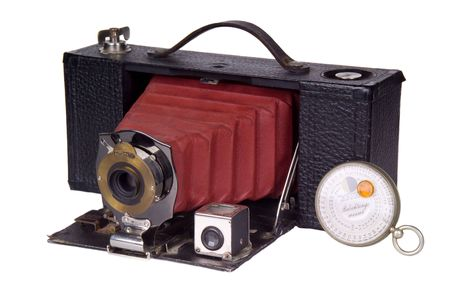Antique classic film camera and light meter  Stock Photo
