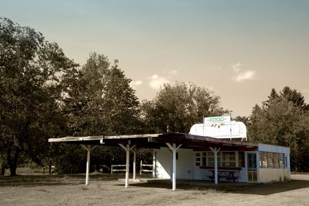 drive through: Abandoned classic american drive-in diner restaurant
