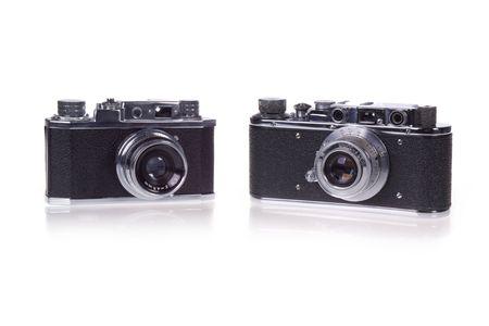Two Classic film rangefinder camera on white background photo