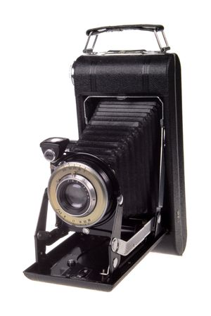 bellows: Classic folder bellows camera on white background; Stock Photo