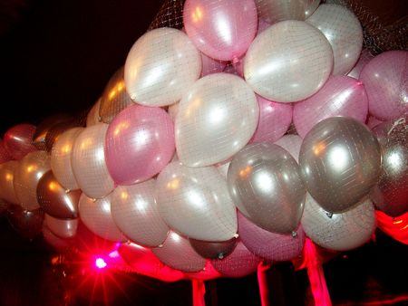 ceiling: Floating party balloons in net