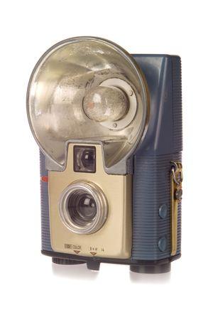 point and shoot: Vintage apuntar y disparar la c�mara con flash  Foto de archivo