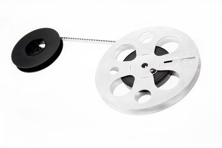 Retro film reels isolated on white background
