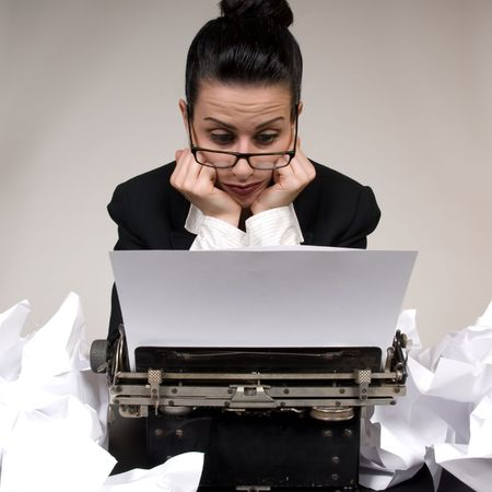 retro woman: Retro business woman with vintage typewriter