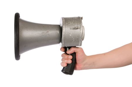 Close-up of man holding an old retro megaphone