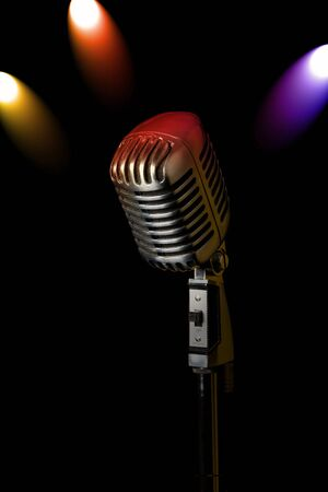 Retro microphone with 3 spotlights photo