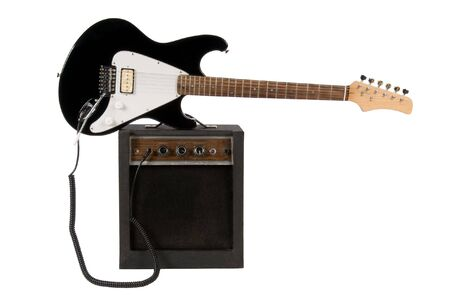 amp: Electric guitar with amp isolated on white background