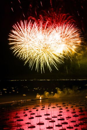 lakefront: Night time aerial view of downtown Chicago lakefront during independence day fireworks