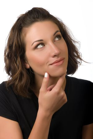 thinking woman: Young woman with her hand on her chin thinking Stock Photo