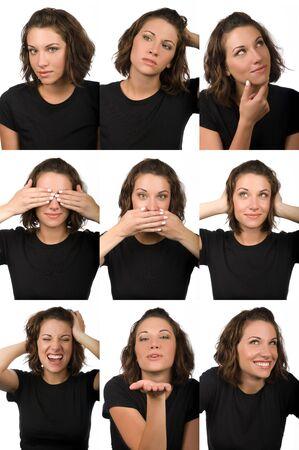 Composite of nine female facial expressions photo