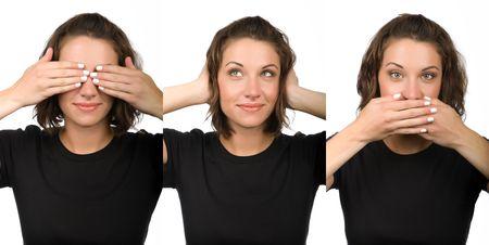 Drei kluge Frauen, die sehen, h�ren oder sprechen nichts B�ses Lizenzfreie Bilder