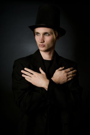 frock coat: Portrait of young male performing artist in retro 19th century style fashion