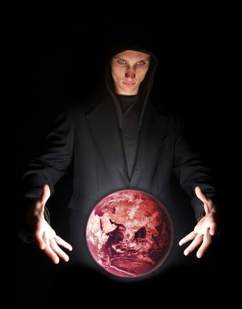 Fortune teller having a vision of global warming. Earth by NASA