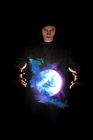 hocus pocus: Fortune teller with magic crystal ball Stock Photo