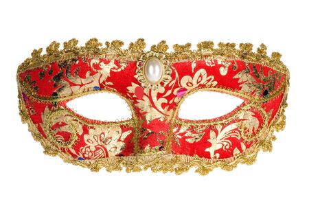 Red venetian carnival mask isolated on white background