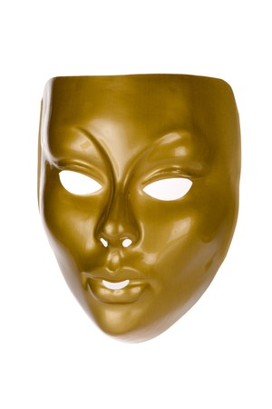 alter ego: Gold face mask isolated on white background