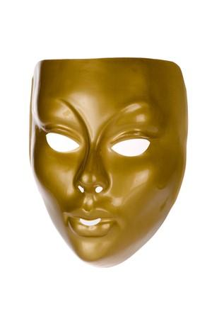 Gold face mask isolated on white background photo
