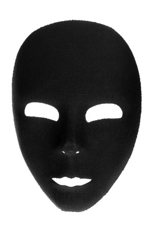 alter ego: Eerie black face mask isolated on white background
