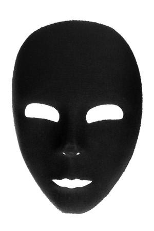 Eerie black face mask isolated on white background photo