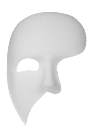 black mask: Off-white phantom of the opera half face mask isolated on white background