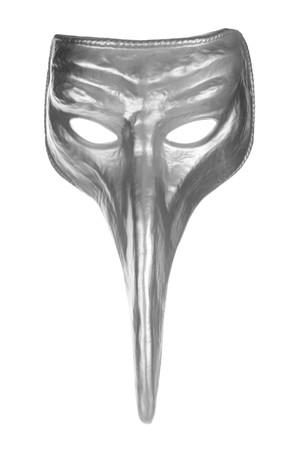 Silver long nose renaissance mask isolated on white background photo