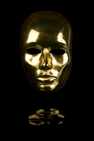 alter ego: Gold mask isolated on black background