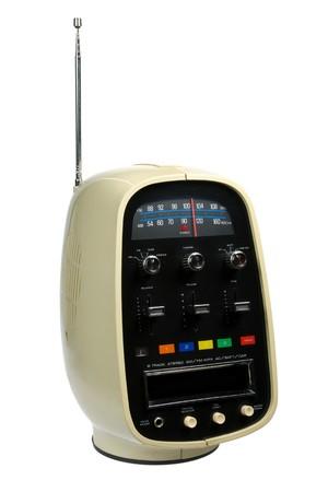 Retro portable eight track tape player & radio isolated on white background Stock Photo