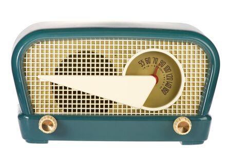 old technology: Vintage retr� radio isolato su sfondo bianco Archivio Fotografico