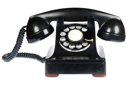 rotary dial telephone: Vintage retro tel�fono rotativo en el fondo blanco