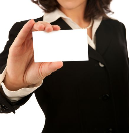 Business woman showing a blank white business card Stock Photo - 5643629