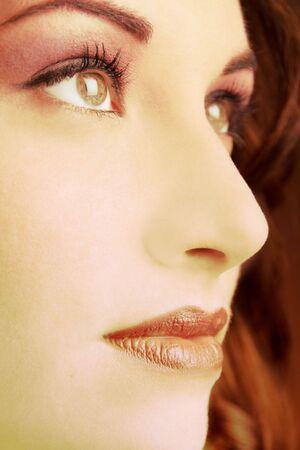 Face close-up of young beautiful woman Stock Photo