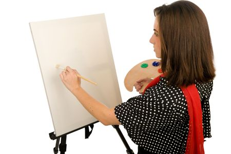 profile picture: Young woman painting on a blank canvas