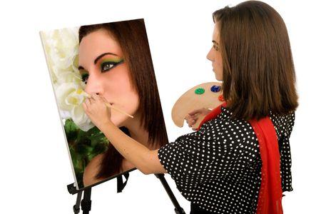 Junge weibliche K�nstlerin, die Malerei Self portrait  Lizenzfreie Bilder