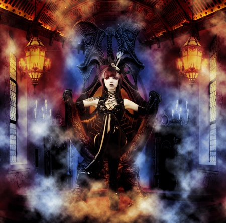 manga girl: Princess of the Underworld - Dark Princess on her Throne Stock Photo