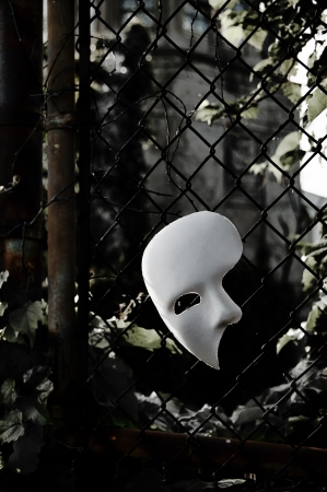 chainlink: Masquerade - Phantom of the Opera Mask on Rusty Chainlink Fence Stock Photo