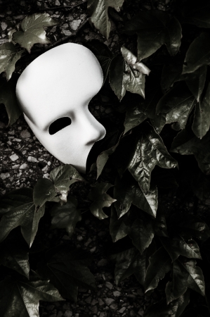 theatre masks: Masquerade - Phantom of the Opera Mask on Ivy Wall Stock Photo