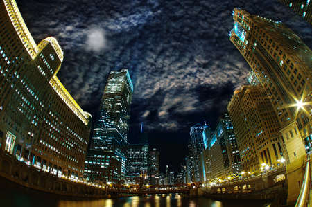 hdr: Majestic Chicago - Riverfront Windy City at Night