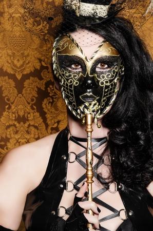 Mysterious Masquerade - Sexy Vixen mit Venezianische Maske Lizenzfreie Bilder