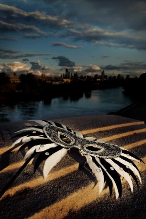 Masquerade - Venetian Mask with City Skyline Stock Photo - 15534844