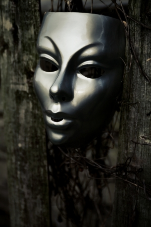 trapped: Trapped - Mask on Weathered Fence Stock Photo