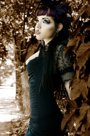 Dark Fall Fashion - Young Sexy Woman in Goth Couture photo