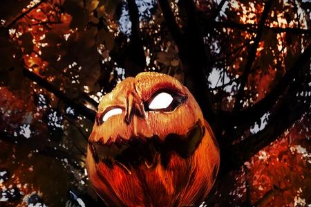 Evil Pumpkin - Jack O Lantern hanging in Tree photo