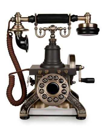 レトロな電話 - 白い背景で隔離のヴィンテージ電話