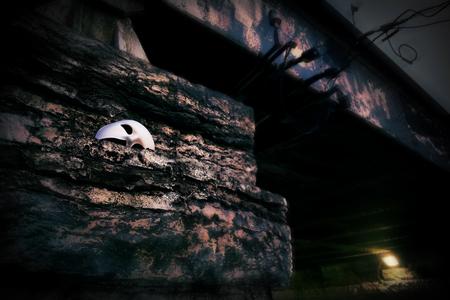 theatre masks: Lurking in the Shadows - Phantom of the Opera Mask on Vintage Bridge