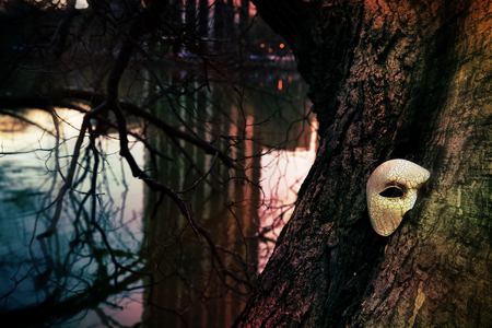 theatre masks: Vintage Venetian Mask on an Old Tree by a Lake Stock Photo