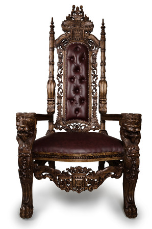 Vintage Throne Chair isolated on White Background Stock Photo