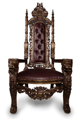 Vintage Throne Chair isolated on White Background Standard-Bild