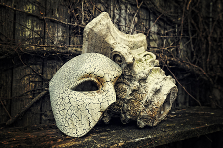 Vintage Venetian Mask with Roman Column Stock Photo